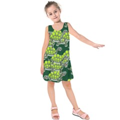 Seamless Tile Background Abstract Turtle Turtles Kids  Sleeveless Dress by Amaryn4rt