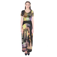 Street Colorful Abstract People Short Sleeve Maxi Dress by Amaryn4rt