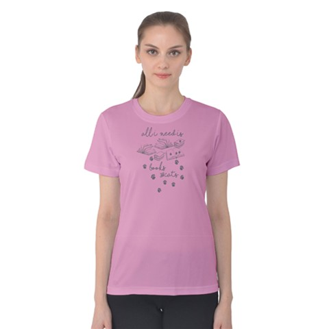 Pink All I Need Is Books And Cats Women s Cotton Tee by FunnySaying