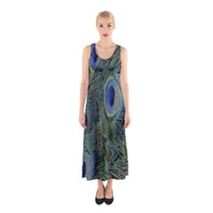 Peacock Feathers Blue Bird Nature Sleeveless Maxi Dress by Amaryn4rt