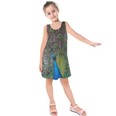 Peacock Feather Beat Rad Blue Kids  Sleeveless Dress by Amaryn4rt