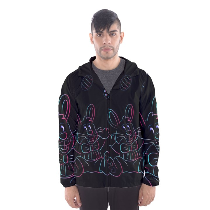 Easter Bunny Hare Rabbit Animal Hooded Wind Breaker (Men)