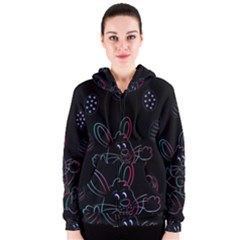 Easter Bunny Hare Rabbit Animal Women s Zipper Hoodie by Amaryn4rt