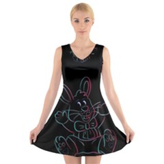 Easter Bunny Hare Rabbit Animal V Neck Sleeveless Skater Dress by Amaryn4rt