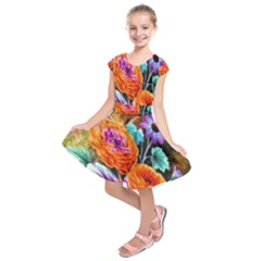 Flowers Artwork Art Digital Art Kids  Short Sleeve Dress
