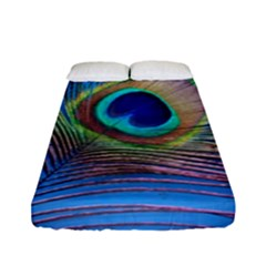 Peacock Feather Blue Green Bright Fitted Sheet (full/ Double Size) by Amaryn4rt