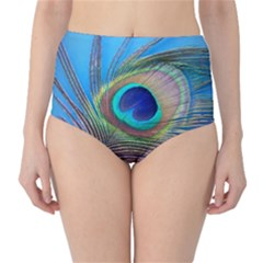 Peacock Feather Blue Green Bright High Waist Bikini Bottoms