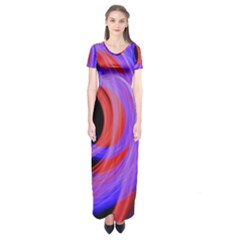 Background Blue Red Short Sleeve Maxi Dress