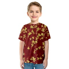 Background Design Leaves Pattern Kids  Sport Mesh Tee by Amaryn4rt