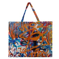 Background Graffiti Grunge Zipper Large Tote Bag by Amaryn4rt