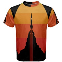 Plane Rocket Fly Yellow Orange Space Galaxy Men s Cotton Tee