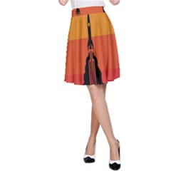 Plane Rocket Fly Yellow Orange Space Galaxy A Line Skirt
