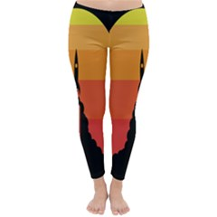Plane Rocket Fly Yellow Orange Space Galaxy Classic Winter Leggings