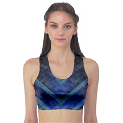 Blue Background Wallpaper Motif Design Sports Bra by Amaryn4rt