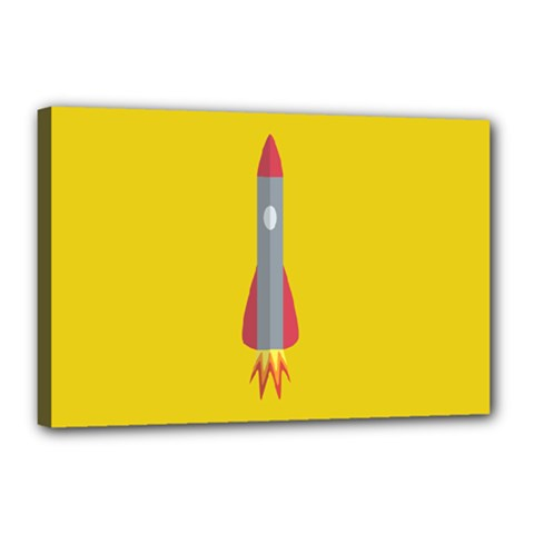 Plane Rocket Space Yellow Canvas 18  X 12  by Alisyart