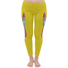 Plane Rocket Space Yellow Classic Winter Leggings