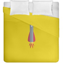 Plane Rocket Space Yellow Duvet Cover Double Side (king Size)