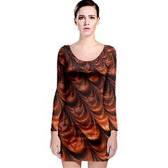 Brown Fractal Mathematics Frax Long Sleeve Bodycon Dress by Amaryn4rt