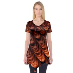 Brown Fractal Mathematics Frax Short Sleeve Tunic