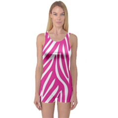 Zebra Skin Pink One Piece Boyleg Swimsuit