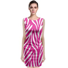Zebra Skin Pink Classic Sleeveless Midi Dress