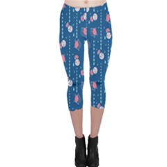 Pig Pork Blue Water Rain Pink King Princes Quin Capri Leggings  by Alisyart
