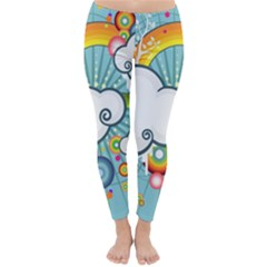 Rainbow Clouds Tree Circle Orange Classic Winter Leggings