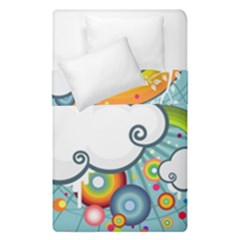 Rainbow Clouds Tree Circle Orange Duvet Cover Double Side (single Size)