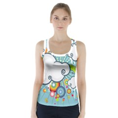 Rainbow Clouds Tree Circle Orange Racer Back Sports Top