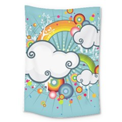 Rainbow Clouds Tree Circle Orange Large Tapestry by Alisyart