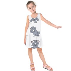 Rhinoceros Animal Rhino Kids  Sleeveless Dress