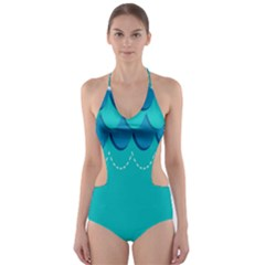 Sea Wave Blue Water Beach Cut Out One Piece Swimsuit