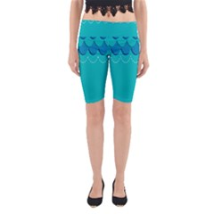 Sea Wave Blue Water Beach Yoga Cropped Leggings by Alisyart