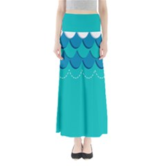 Sea Wave Blue Water Beach Maxi Skirts by Alisyart