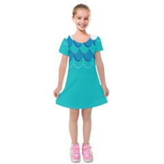 Sea Wave Blue Water Beach Kids  Short Sleeve Velvet Dress
