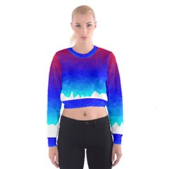 Gradient Red Blue Landfill Women s Cropped Sweatshirt