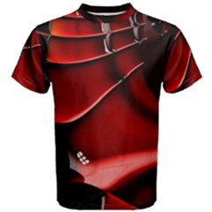 Red Black Fractal Mathematics Abstract Men s Cotton Tee