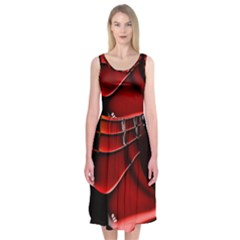 Red Black Fractal Mathematics Abstract Midi Sleeveless Dress by Amaryn4rt