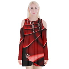 Red Black Fractal Mathematics Abstract Velvet Long Sleeve Shoulder Cutout Dress by Amaryn4rt