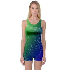 Shiny Sparkles Star Space Purple Blue Green One Piece Boyleg Swimsuit