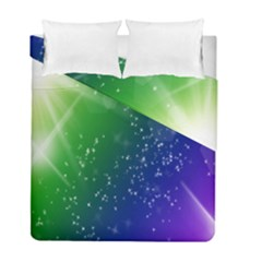 Shiny Sparkles Star Space Purple Blue Green Duvet Cover Double Side (full/ Double Size) by Alisyart