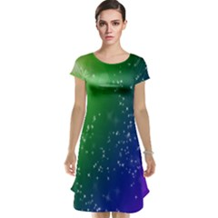 Shiny Sparkles Star Space Purple Blue Green Cap Sleeve Nightdress