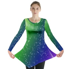Shiny Sparkles Star Space Purple Blue Green Long Sleeve Tunic  by Alisyart