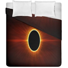 Solar Eclipse Moon Sun Black Night Duvet Cover Double Side (california King Size)