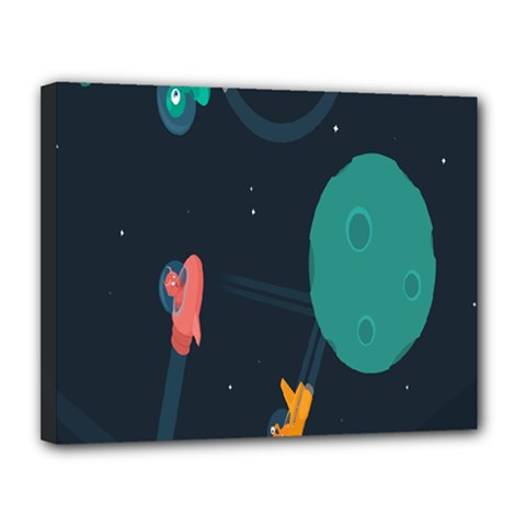 Space Illustration Irrational Race Galaxy Planet Blue Sky Star Ufo Canvas 14  X 11  by Alisyart