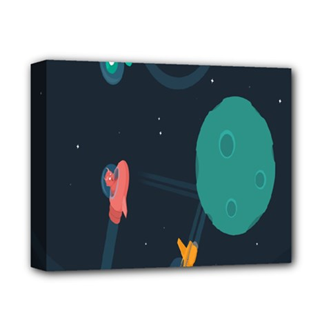 Space Illustration Irrational Race Galaxy Planet Blue Sky Star Ufo Deluxe Canvas 14  X 11  by Alisyart