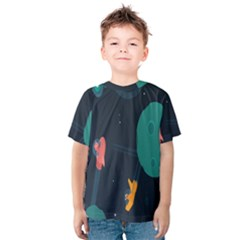 Space Illustration Irrational Race Galaxy Planet Blue Sky Star Ufo Kids  Cotton Tee