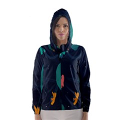 Space Illustration Irrational Race Galaxy Planet Blue Sky Star Ufo Hooded Wind Breaker (women)