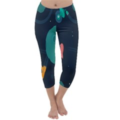 Space Illustration Irrational Race Galaxy Planet Blue Sky Star Ufo Capri Winter Leggings
