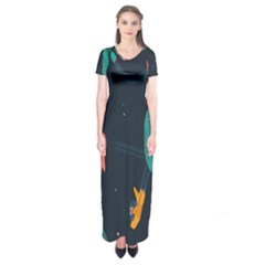 Space Illustration Irrational Race Galaxy Planet Blue Sky Star Ufo Short Sleeve Maxi Dress